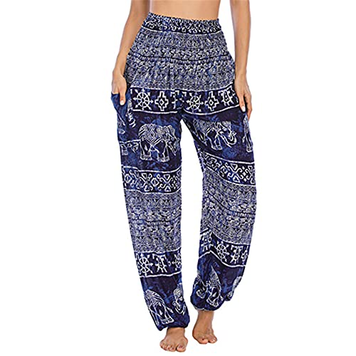 Leggins Mallas Pantalones Deportiva Niña, Pantalones de yoga sueltos del pescador de la holcaña de las mujeres Pantalones de yoga altos Boho Hippie Harem Pantalones Ladies Bohemian Lounge Pantalones c