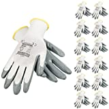 JORESTECH Safety Work Gloves White Polyester Knitted Fiber with Grey Nitrile Coating Pack of 12 GD-01 (Size 8-M)