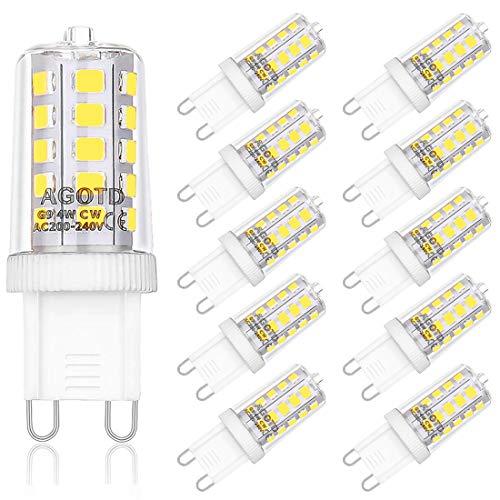 Ampoules LED G9 4W, AGOTD ampoule 6000k blanc froid, sans scintillement, Equivalente 40W Halogène Lumière, 400 lumens, non dimmable AC220-240V, Angle de 360, Pack de 10