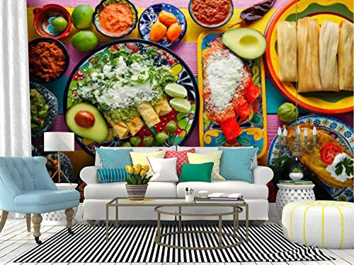 RECETHROWS Wall Mural Green and red Enchiladas with Mexican sauces Peel and Stick Wallpaper Self Adhesive Wallpaper Large Wall Sticker Removable Vinyl Film Roll Shelf Paper Home Decor