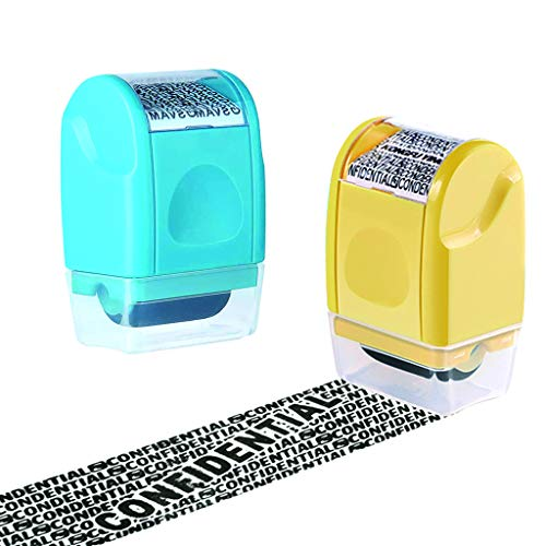 Wenosda 2PCS Wide Roller Stamps, Unlimited Re-Inking Identity Theft Prevention Stamp Rolling Security Stamp Privacy Protection, Guard Your ID Privacy Confidential Data (Light Blue + Yellow)