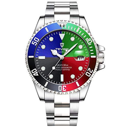 RORIOS Herren Automatikuhr Mechanisch Armbanduhr Edelstahl Metallarmband Tourbillon Kalender Leuchtend Zeiger Multifunktionen Armbanduhr Wasserdicht Uhr
