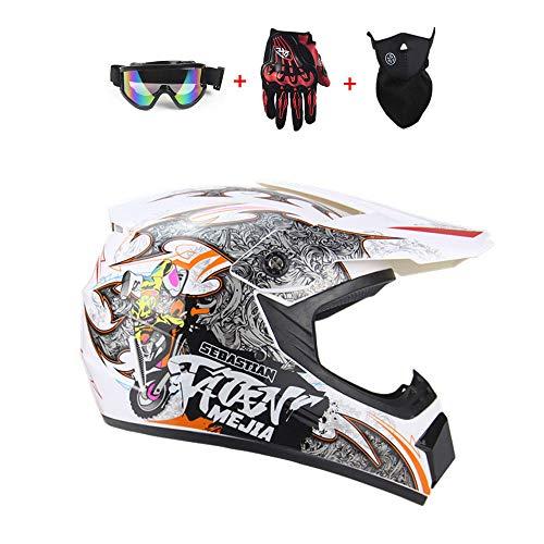 SICOFD Erwachsene Motocross Unisex Motorradhelm mit Maske Brille Handschuhe Adult Off Road Helm Cross Fahrradhelm Fullface Motorrad Camouflage Weiß für Jugendliche Männer Frauen Kinder,XL
