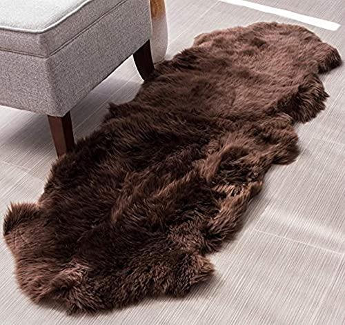 Genuine Sheepskin Rug Double Pelt Brown Sheepskin Throw Rug Fur, 2 x 6 ft ( 60 x 182...