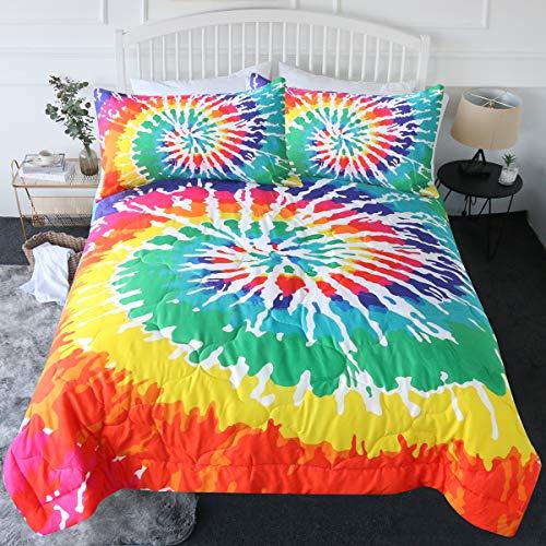 BlessLiving 3 Piece Rainbow Tie Dye Comforter Set with 2 Pillow Shams Bedding Set 3D Printed Reversible Comforter Full/Queen Size Bedding Sets, Psychedelic Watercolor Art