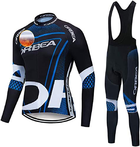 TIDH Conjunto Ropa Largos Ciclismo, Hombre Manga Larga Maillot Bicicleta+ Culotte Pantalones Largos Ciclismo para Invierno (M, Orb-RDBU)