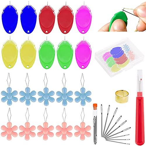 Acmerota Enhebrador de agujas para coser a mano, 20 enhebradoras de plástico para máquina de coser con caja transparente de agujas de coser, enhebrador simple de bricolaje para agujas, enhebrador