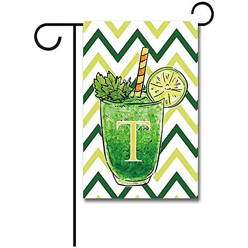 dingjiakemao Yard Flags, Welkom Zomer Een Beker Van Lemonade Met Strepen Letter Tuin Vlag Monogram T Banner 30X45Cm Print Beide Zijden