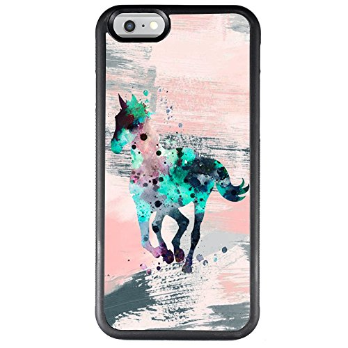 Case for iPhone 6s 6 Watercolor Horse Phone Case TPU Protective Black Case