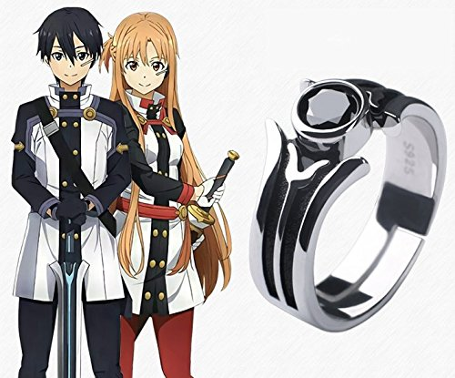 Skylynn--Anime Sword Art Online Kirito Spielzeug Schmuck Ring S925 Silber Einstellbare Länge