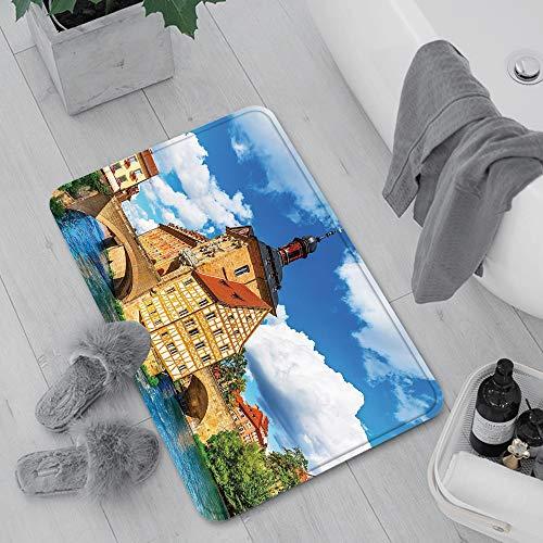 Rutschfeste Badematte 60 x 100 cm,Reise-Dekor, Rathaus in Bamberg Deutschland europäischen histo,Maschinenwaschbare Badematte, Badvorleger mit Wasserabsorbierenden,für Badewanne, Dusche und Badezimmer
