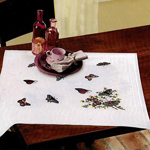 Kamaca Stickpackung Schmetterlinge der Provence Stielstich Plattstich Nadelmalerei vorgezeichnet Baumwolle Stickset mit Stickvorlage (Mitteldecke 80x80 cm)