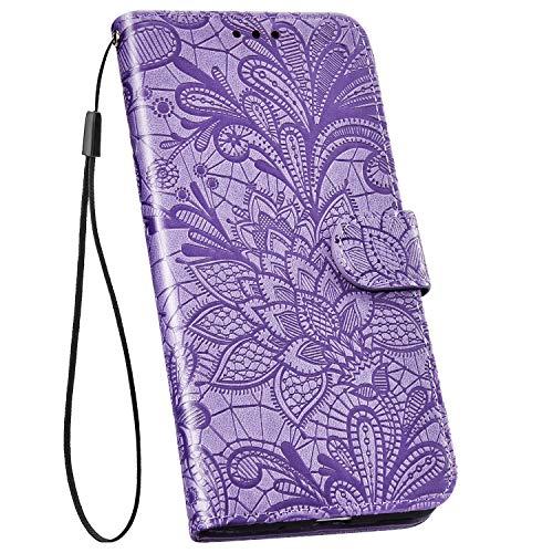 Ysimee Handyhülle kompatibel mit Samsung Galaxy M20 Leder, Blumen Muster Einfarbig Brieftasche Schutzhülle mit Kartenfach Klappbar Stoßfest Kratzfest Hülle Leder Handy Tasche Schale, Lila