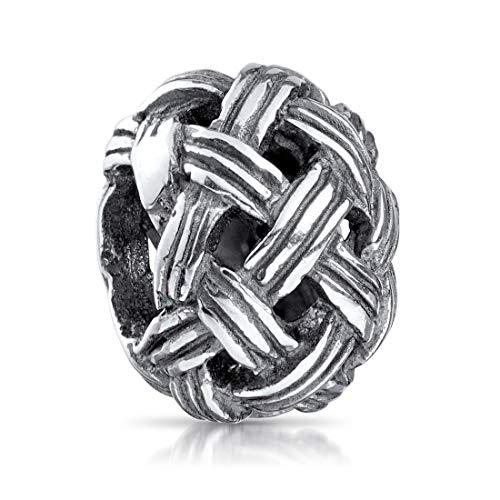 MATERIA 925 Sterling Silber Bead Kugel Knäuel - Charms Anhänger Wollknäuel antik für Beads Armband 929