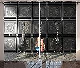 Verdunkelungsvorhänge, Wärmeisolierung/Wärme im Winter, können Innenmöbel schützen & ultraviolette Strahlung reduzieren Amerikanische Flagge Vorhang Bassgitarre elektronische Rockmusik Thema