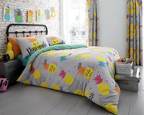 Adam New Colorful Fruity Floral Duvet/Quilt Cover Bedding Sets (Double, Pineapple)