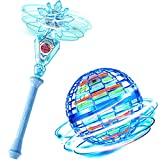 Flying Spinner Magic Flying Toy Ball Flight Gyro Toy Magic Controller, Blue Flying Spinner Toys Hand Operated Drone, Dynamic RGB Light Drop Resistant with 30 Min Battery Life for Teens and Adults