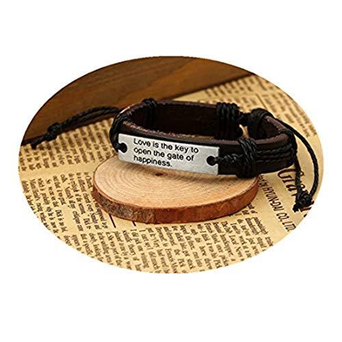 GYKMDFx Mannen Armband Vrouwen Armband Lederen Armband Liefde is De sleutel tot het openen van de poort van geluk Armband Mode Armband