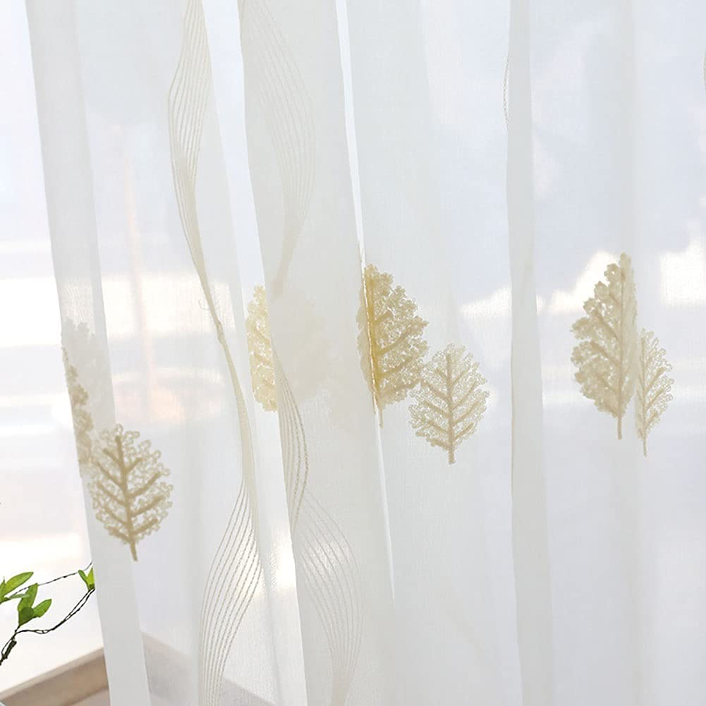 DANADESK White Grommets Sheer Voile Leaf OFFicial store E price Window Curtain Panel
