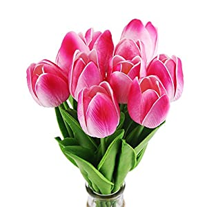 Silk Flower Arrangements DECORA 10Pcs/Bag PU Holland Mini Tulip Artificial Flower Real Touch for Wedding,Room,Home,Hotel,Party Decoration (Double Pink)