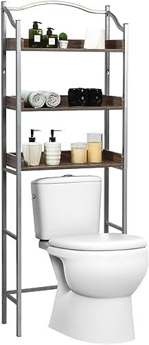 wholesale Giantex Over-The-Toilet Spacesaver outlet online sale 3-Tier W/Adjustable Shelves and Sturdy Metal Frame,Easy Assembly Freestanding high quality Bathroom Rack for Bath Essentials Bathroom Storage Organizer Rack (Sliver) online sale