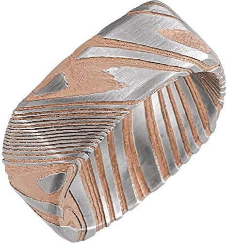 Save money Damascus Steel 8 mm Patterned Squa Max 68% OFF Square Band 10 Size