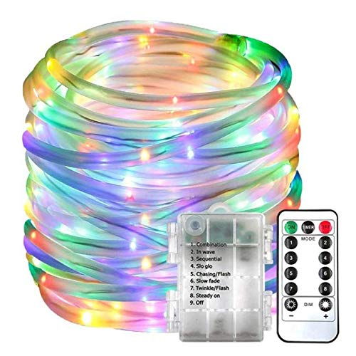 KELITE LED Rope Light Fairy Light String Battery Powered 8 Modes with Timer Waterproof Design Suitable for Family Garden Wedding Party Christmas Decoration (Color : Color, Size : 7M50LED)