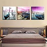 SJYHNB Foto Canvas Cuadro Puerto y barco de la ciudad Impresión de Lienzo de Pared Arte Imagen Decoración Moderna del Ministerio del Interior 30 x 30 cm x 3 Paneles (con Marco)