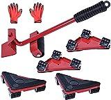 Transportador de Muebles con Ruedas Ruedas Giratoria de 360 Grados, Elevador de Muebles Pesados Capacidad de 300kg con Guantes para Sofás y Frigoríficos por Poweka (Rojo)