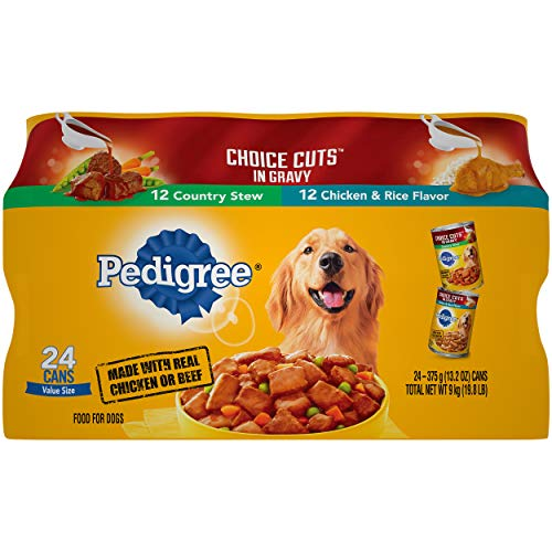 PEDIGREE CHOICE CUTS IN GRAVY Adult Canned Wet Dog Food Variety Pack, Country Stew and Chicken & Rice Flavor, (24) 13.2 Oz. Cans