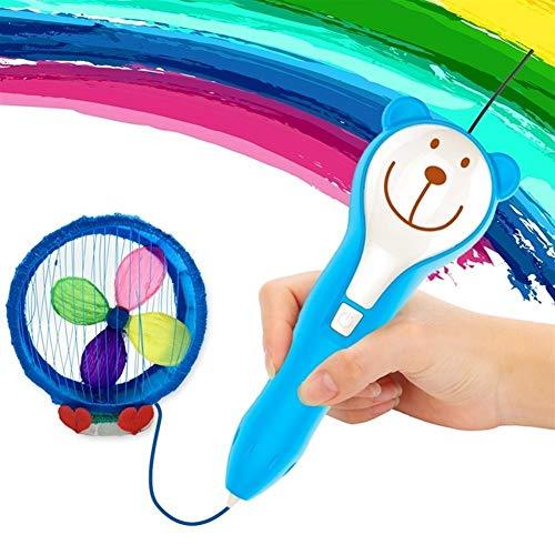 Edmend Children 3d Printing Pen Stereo Graffiti Charging Low Temperature Painting Student Wireless 3D Painting Pen 3D Craft Pen (Color : Blue)