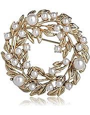 QSCVHU Rotondo Bauhinia Cinese Forma di Fiore Spilla Antico Colore Oro Perle Imitazione Spille Pins Accessori di Gioielli