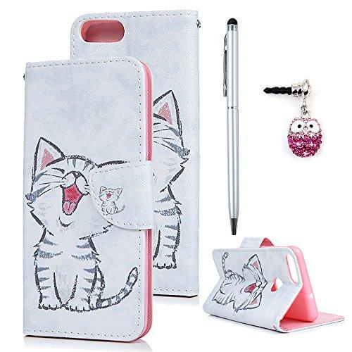 Huawei P Smart Hülle Case Tasche Lachende Katze Kunstleder Brieftasche Wallet Schale Lederhülle Schutzhülle Handyhülle für Huawei P Smart Standfunktion Kartenfach Magnetverschluss Bookstyle Klapphülle