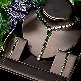 Shability Conjuntos De Collar De Moda para Mujeres Clear Green Cubic Circon Waterdrop Forma Pendientes Largos Pendiente Set yangain (Color : ColorA)