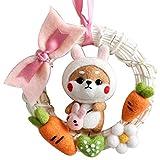 Kit de inicio de fieltro con aguja, kits para principiantes que incluyen instrucciones para muñecos de animales, anillo de ratán, juego de lana de fieltro, sin terminar, juego de materiales . (rabbit)