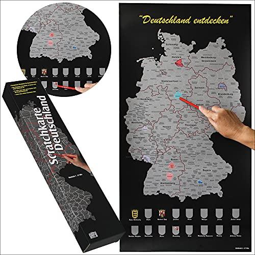Scratch Rubbelkarte Deutschland: Scratchkarte, Rubbelkarte Deutschland. Einfach freirubbeln, wo man schon gewesen ist, auch sehr schön als Wanderkarte, ein tolles Geschenk.