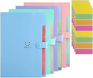 4 Pack Expanding File Folders Accordion Document Organizer, Letter A4 Paper Placstic File Folder 5 Pockets Snap Closure Document Organizer Set with 16Pcs File Folder Labels for School Office Home