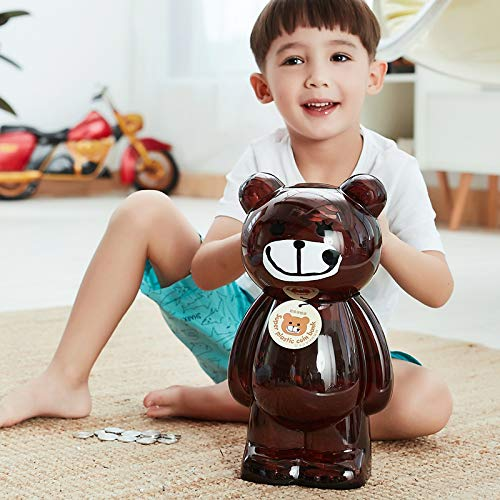MANWEI Sparschwein Sparkasse Super Große Sparbüchse Transparent Sparschwein Kunststoff Sparmünze Safe Cash Candy Home Decor Kinder Kind Geschenk Ap1096, Braun