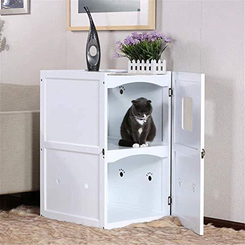 Nachtkastje 2 Decker Pet House, kattenbak Enclosure Indoor Kattenzand Cover Vertical Washroom Opbergbank Stevige Houten Structuur meubilair geschikt for de meeste van de kattenbak, Donkerbruin LOLDF1