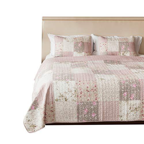 SLPR Secret Garden 3-Piece Real Patchwork Cotton Quilt Set (Queen)   with 2 Shams Pre-Washed Reversible Machine Washable Lightweight Bedspread Coverlet