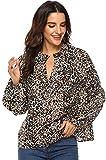 Mujeres Camisa Elegante Blusa Mangas Largas Camiseta Polsillo Escote V (Leopardo, M/EU 38-40)