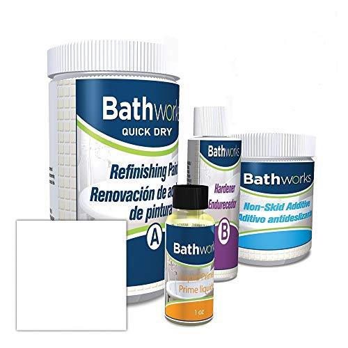 "Bathworks DIY""QUICK DRY"" WHITE Bathtub & Tile Refinishing Kit w/Non-Slip Protection; 22 oz; FAST 12 hour dry time; Tub; Tile; Wall Surround; Sink; High Gloss Resin Finish (WHITE)"