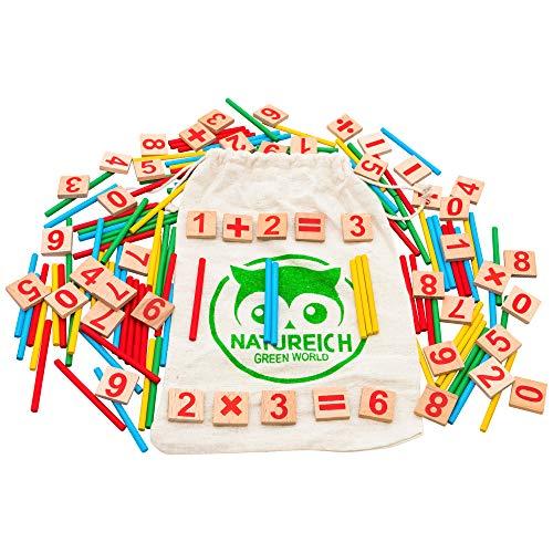 Natureich Mathematik Montessori Spielzeug aus Holz inkl. Stoffbeutel zum Aufbewahren Zahlen Lernen mit Rechen Stäbchen, Bunt / Natur ab 3 Jahre