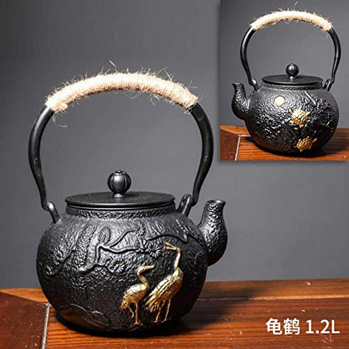Cast Iron Kettle Niets Coating Iron Theepot Imiteren Japan Iron Kettle Tea Set Water koken maak Thee oude ijzeren pot, Rosette LMMS (Color : Longevity)