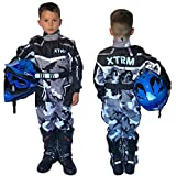 XTRM Traje De Kart para Niños Camo Gris Motocicleta Niños MX Quad Off Road Go-Karting Enduro ATV Bici Sports Racing Ropa De Una Pieza (YL (6-7yrs))
