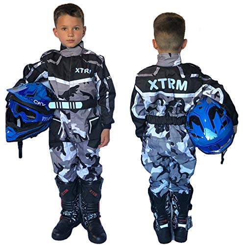 XTRM Motocicleta Niños Una Pieza Traje De Kart Camo Naranja Niño Quad MX Off Road Go-Karting ATV MTB BMX Monos Bicicleta Racing (YM (5-6 años)