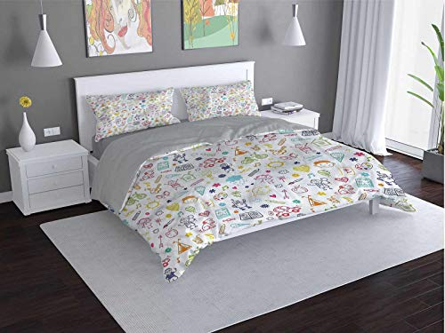 Toopeek Doodle Extra large quilt cover Childlike-Drawing Can be used as a quilt cover-lightweight (Queen)