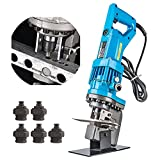 Bonvoisin Electric Hydraulic Hole Puncher 110V Punching Machine Metal Hole Punch 1200W with 5 Dies for 3-6MM Steel Iron Copper Aluminum Plate Angle Steel
