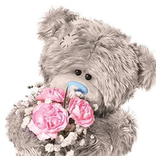 Me to You Tatty Teddy 3D Holografische Karte–Geburtstag Bär mit Blumen
