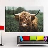 Highland Ganado Lienzo Abstracto Mural minimalismo Ganado Ganado Impresiones Animal Bull Poster Living Comedor,Pintura sin Marco,75x103cm